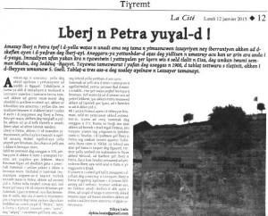 """D. Lwiz, """"Lbeṛǧ n Petra yuɣal-ed !"""""""